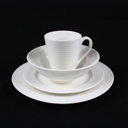 16 백색 세라믹 식기, 현대 돋을새김된 효력을%s 가진 식기류 세트