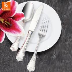 Het Buffet van het Restaurant van het hotel met het Hoge Vaatwerk van het Roestvrij staal van het Eind, Lepel, Vork, Mes