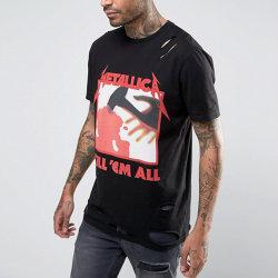"""""""괴롭혀진 Mens 중금속은 그(것)들을 모든"""" 인쇄한 까만 면 t-셔츠 죽인다"""