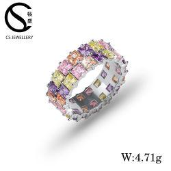 prix d'usine Bijoux en argent Zirconia Cubique de pierre de couleur Bagues de fiançailles