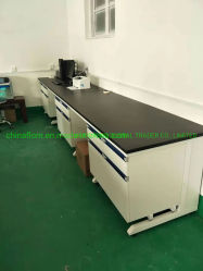 鋼鉄木製の構造の実験室の供給の壁のベンチ3000*750*850mmの側面の実験室表
