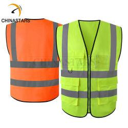 Weerspiegelende ANSI Klasse 2 hallo het Vest van de Veiligheid Vis met Zakken voor de Slijtage van Arbeiders