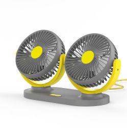 Commerce de gros ventilateur Vehicle-Mounted 12V 24V Ventilateur électrique général USB Mute tête tête double ventilateur Van