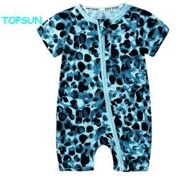 Imprimé personnalisé 100% coton à manches courtes Vêtements pour bébé à glissière Jumpsuit Romper Bébé