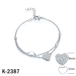 Mode bijoux 925 Sterling Silver bracelet de pierres de zircone cubique coeur pour les femmes
