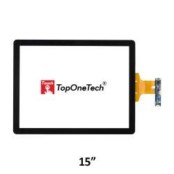 لوحة شاشة لمس بزجاج خفيف الوزن بحجم 15 بوصة PCAP Multi 4: 3 AG بواجهة USB لمكونات شاشة عرض TFT LCD ذات طبقة ارتباط ضوئية للهواء