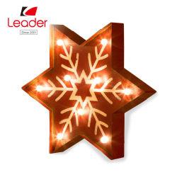 O LED vermelho do convívio de Natal rústica decoração do floco de neve para pendurar, estrela de Floco de Metal