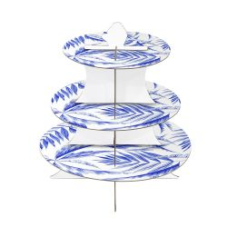 Drie-Lagen Ronde Opvouwbare Party Diy Tea Display Paper Cardboard Cake Stand