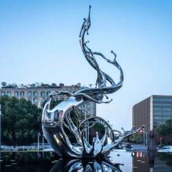 屋外用の近代美術抽象ステンレススチール水彫刻 装飾
