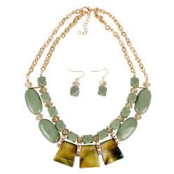 Nombre personalizado resina acrílica geométrica señoras joyas collar Arete Set