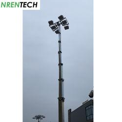 太陽電池式移動式ライトタワー高さ 12 m - 6X200W LED - 亜鉛メッキ伸縮マスト - 油圧式 持ち上げます