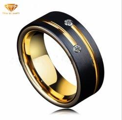 Anello intarsiato Lasha nero elettrico scanalato di qualità superiore all'ingrosso dell'acciaio di tungsteno di Zircon dell'anello di oro del tungsteno nuovi degli uomini europei ed americani per gli uomini Tst4195