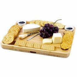 Cheese Board con 2 ciotole in ceramica e 2 piatti da portata. 2 cassetti Magnetic Charcuterie Bamboo con set coltelli, 2 Server Fork, Wine Opener