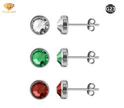 方法宝石類G23のチタニウムの製造業者の供給の穿刺の銀の宝石類の円形の石の耳のスタッドのイヤリングの低刺激性のイヤリングの宝石類Tp1912