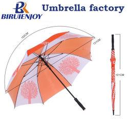 Strong оранжевого цвета Белый Pongee поле для гольфа зонтик с Логотип печать резиновую рукоятку Doming