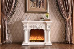 Un style moderne de marbre artificiel blanc un foyer électrique