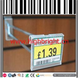 Venda a retalho de arame de aço traseira Slatwall gancho com etiqueta de preço de PVC