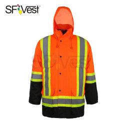 Канада стиле оранжевый светоотражающий светоотражающие Parka Зимняя куртка безопасности водонепроницаемый теплую куртку безопасности