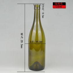 De ronde Klaar Voorraad van de Fles van de Wijn van het Glas van de Vorm 750ml Groene of Duidelijke Bordeaux