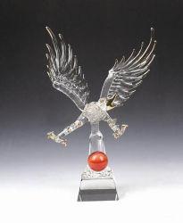 Home Decoartion K9 figura Animal de cristal transparente Eagle