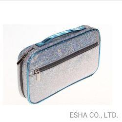 De façon professionnelle nouvelle fermeture Éclair bleu Sequined Portable sac cosmétique