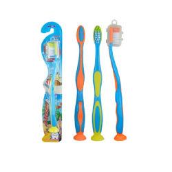 Il marchio su ordinazione all'ingrosso protegge il Toothbrush molle dei capretti della plastica della FDA della setola delle gomme con la tazza di aspirazione