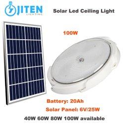LED rotondo a energia verde per interni da 100 W Hot Seller Illuminazione a soffitto con pannello solare per il giardino domestico Lampada a LED per tettoia da cantiere