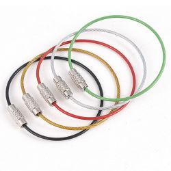 El tornillo de Metal Cable anillo de llavero Llavero de acero inoxidable