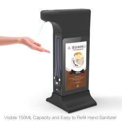 Soporte de mesa de 7 pulgadas de pantalla de visualización de Publicidad Digital Signage con la mano dispensador Sanitizers
