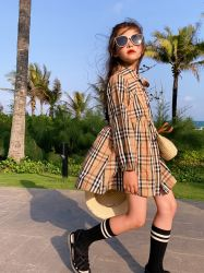 De Boutique van kinderen kleedt van het Katoenen van de Manier van de Herfst van het Ontwerp van de Kleding van de Koker van het Af:drukken van het Patroon van de Plaid de Lange Kleren Wear.Girl Clothes.Children Meisje Dresses.Kids van de Prinses