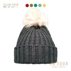 큰 모피 POM POM 패션 악세사리를 가진 여자 형식 모자 겨울 스판덱스 늑골 패턴에 의하여 뜨개질을 하는 모자