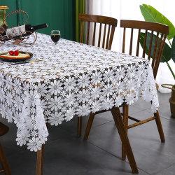 Uitgehold moderne eenvoudige Household Decorative White Flower Square Tablecloth