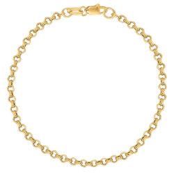 Aço inoxidável banhado a ouro Rodada Belcher corrente de Rolo Máster Bracelete Colar Anklet Jóias
