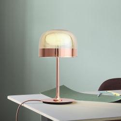 Cristal de estilo moderno de color oro rosa mesa de estudio de la oficina de lujo Leer Portable Hotel Restaurante Bar Lámpara de mesa