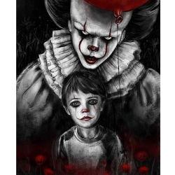 Clown Make-up Junge in Horror Clown Gruppe Foto Blut dunkel Hintergrund für Erwachsene Diamant Malerei