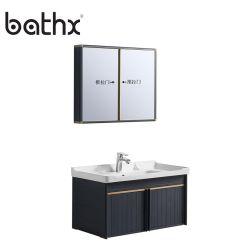 Chaozhou Fabrik Aluminium Badezimmer Waschtisch Schrank mit Spiegel New Style Wasserdichte Wand Montiert Schrank Eitelkeit