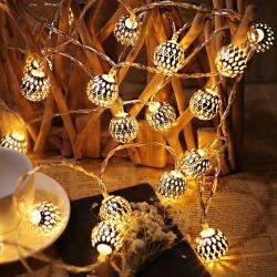 10 LED metalen ijzer bal String Fairy Lights Kerstbruiloft Feestdecoratie