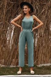 Jumpsuit donna senza maniche a V con collo a V, casual e a buon mercato