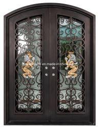 Bearbeitetes Eisen-Tür-und Glas-Eintrag-Stahlsicherheits-Haustür-Entwurf