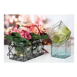 메탈 랙이 있는 2인용 화려한 광장 유리 Vase 세트, Vase, 캔들 홀더가 있는 시골풍의 컨트리 홈 테이블 장식