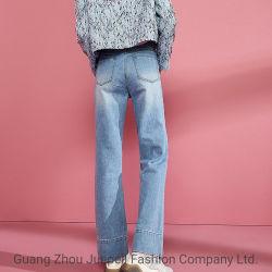 カスタム卸売ファッション衣料綿ストレートレッグウィメンズレディースアパレル デニムジーンズ