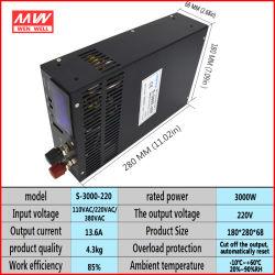 220VDC Hochspannungsausgabe LED Gleichstrom-Schaltungs-Stromversorgungen-Aufladeeinheit 3000W mit justierbarer Stromversorgung S-3000-220V der Digitalanzeigen-0-220V