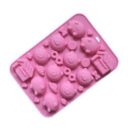 منتج جديد شهادة FDA مواد غذائية مادة Silicone كعكة قالب، ثلاث خنزير صغير على شكل كعكة قالب حلوى Silicone قالب حلوى/قالب شوكولاته