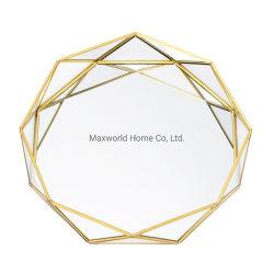 Het gouden Uitstekende Dienblad van de Spiegel van het Decor van het Frame van het Metaal