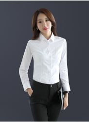 Oem Blank Long Sleeve White Slim Fit Formeel Business Damesshirt Party Dress Shirt Voor Dames