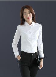 مصنّعة أصلية بيضاء طويلة جراب بيضاء رفيعة مناسبة [بوسنسس] [شيرت] حزب فستان قميص لنساء