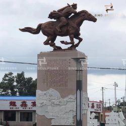Im Freienkunst-Dekoration-Bronzeskulptur mit Patina-und Stein-Skulptur