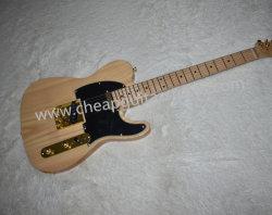 Venda por grosso de fábrica cor madeira guitarra eléctrica, Corpo de cinzas, Maple Pescoço, placa de madeira de ácer, Placa Preta, acessórios de Ouro