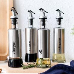 Conjunto de 4 frascos de vidro para óleo, Molho, vinagre de vinho de cozinha