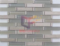 Madera mármol y mosaico de la pared de vidrio (CFS705)